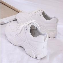 2019 Nova Primavera Mulheres Sapatos Casuais Confortáveis Sapatos de Plataforma Tênis Rendas Até As Mulheres Sapatos de Mulher Senhoras Formadores chaussure femme