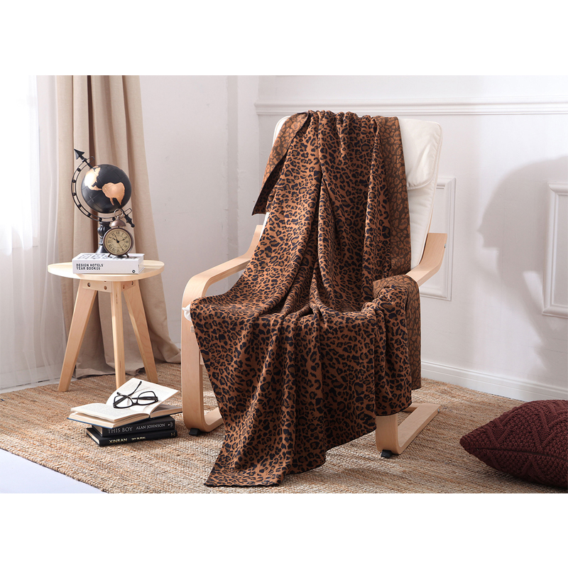 1 PCS 130*180CM Knit Blankets Cotton Leopard Knitted Leisure Blanket For Home Beds Sofa Office Portable Blankets V20 big size nordic navy blue gray mixed sofa cover blanket 130 170cm simple style wearable blanket sofa towel car blanket