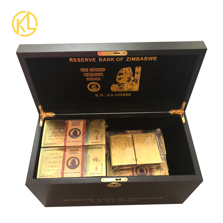 AZ0000111 1000pcs Rhinoceros One Hundred Quintillion Zimbabwe Dollars 24K Gold Banknote with UV Light Watermark for