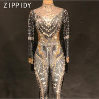Bling Big Crystals Stretch Jumpsuit Female Singer Bodysuit Rhinestones Leggings Women's Birthday Party Nightclub Show Stage Wear