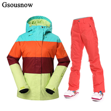 Quality Warranty GsouSnow Snowboard Ski Jacket and Pants Set Outdoor Winter Sport Women Ski Suit Waterproof Thick Parka for Hike