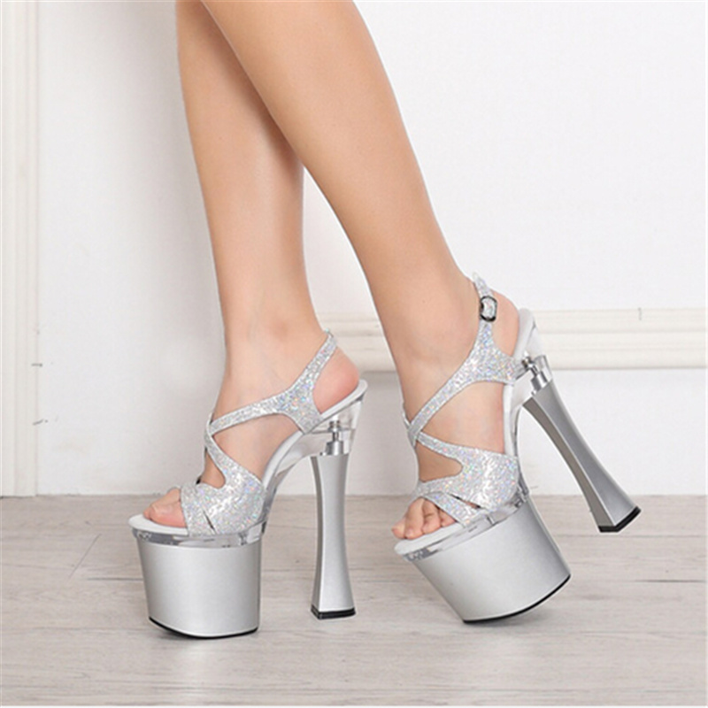 Plus Big Size Silver Qitong PU Woman Thin Ultra High Heels Platform Sandals Nightclub Woman Shoes High Heeled Sexy Party Shoes  euro size 34 44 pu woman 15 and 17cm high heels platform sandals nightclub woman high heeled birthday party shoes for t station