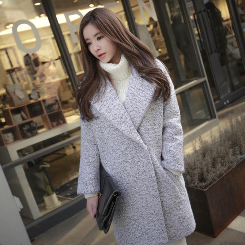 2018 Haute Survêtement Tweed Laine Manteaux D'hiver Gray Mode Long Nouvelles De Automne Manteau Gris Femelle Lâche Femmes Élégante Mélanges Qualité qnxYpZ6
