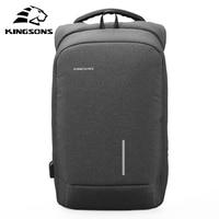 Kingsons 2017 New 13 15 External USB Charging Laptop Backpacks Fashion School Backpack Bag Men Women