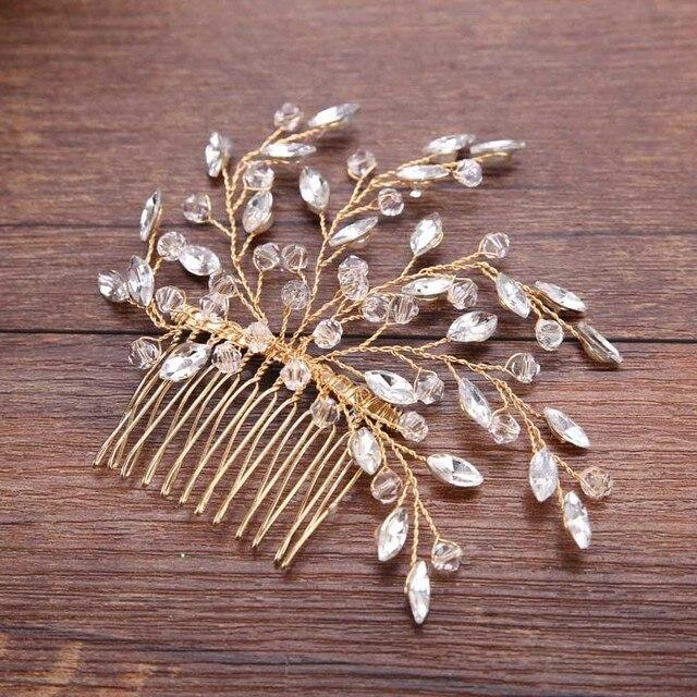 Accessoires de cheveux de mariage de luxe pour mariée brillant cristal arbre branche peignes à cheveux à la main bijoux femmes peigne à cheveux florale