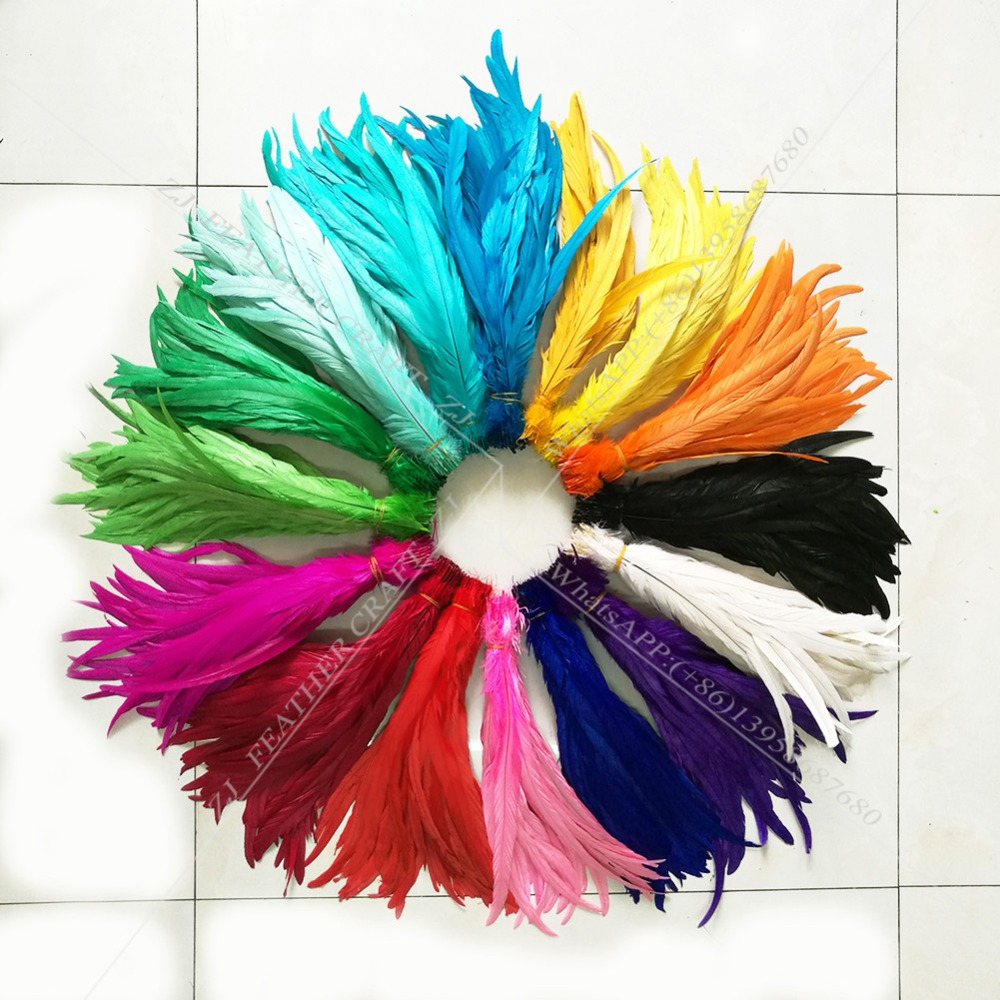 Wholesale 100pcs 25-45cm Natural Dyed Rooster Tail Feather Chicken Feather Plume For DIY Craft/Dress/Carnival Party Decoration