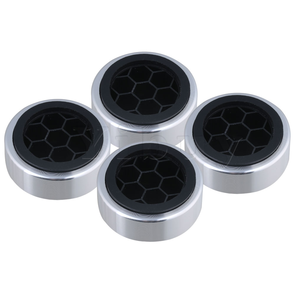 Hot Sale Yibuy 4x Anti Vibration Cd Player Speaker Isolation Feet Pad 6.1cm Dia Silver 100% High Quality Materials