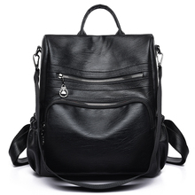 Fashion Women Bagpack Travel PU Leather Backpack Bag School Shoulder Bag for Teenage Girls Black Backpacks Female mochila mujer