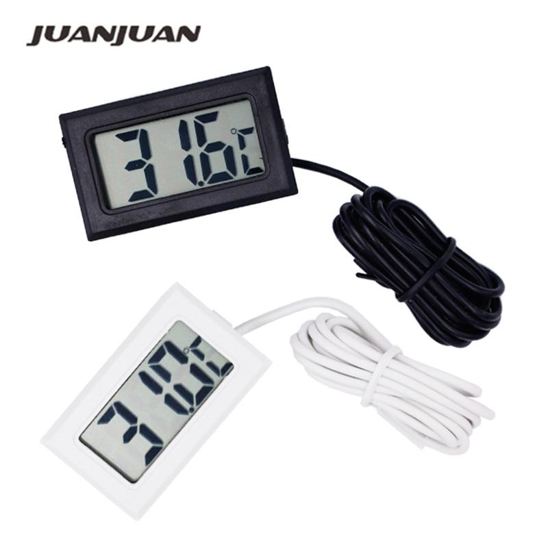 Digitális LCD szonda hűtőszekrény fagyasztó hőmérő hőmérő hőmérő 110C hűtőszekrényhez (fekete / fehér) 20% engedmény