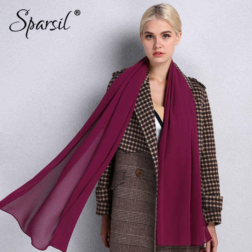 Sparsil Quality Chiffon Scarves Solid Color Headband Spring Summer Thin Breathable Beach Shawls Hot Muslim Female Hijabs Scarf