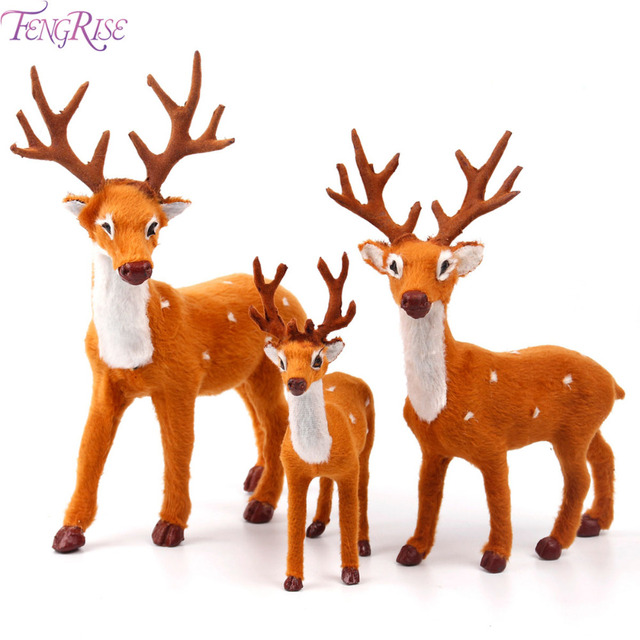 fengrise 15 20 25cm reindeer christmas deer elk plush simulation christmas decorations for home new year
