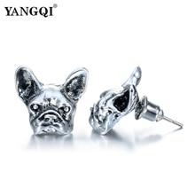 Punk Antique Silver Plated Earrings Animal Unisex Dog Stud Earrings Black Bulldog Earrings 2017 Hot Sale Jewelry