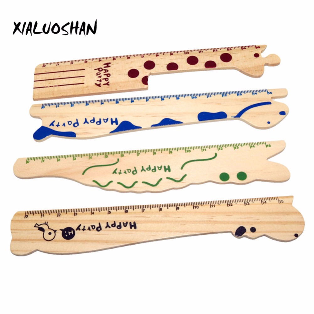 Novelty Lovely 17cm Cartoon Creative Wooden Ruler Office School Stationery Education Supplies Student Gift