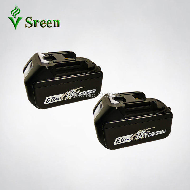 2PCS 18V Li-ion 6000mAh Replacement for Makita 18V BL1830 BL1840 BL1850 BL1815 LXT Rechargeable Lithium Ion Power Tool Battery hot 2x 18v 4 0ah battery for makita bl1840 bl1830 bl1815 lxt lithium ion cordless