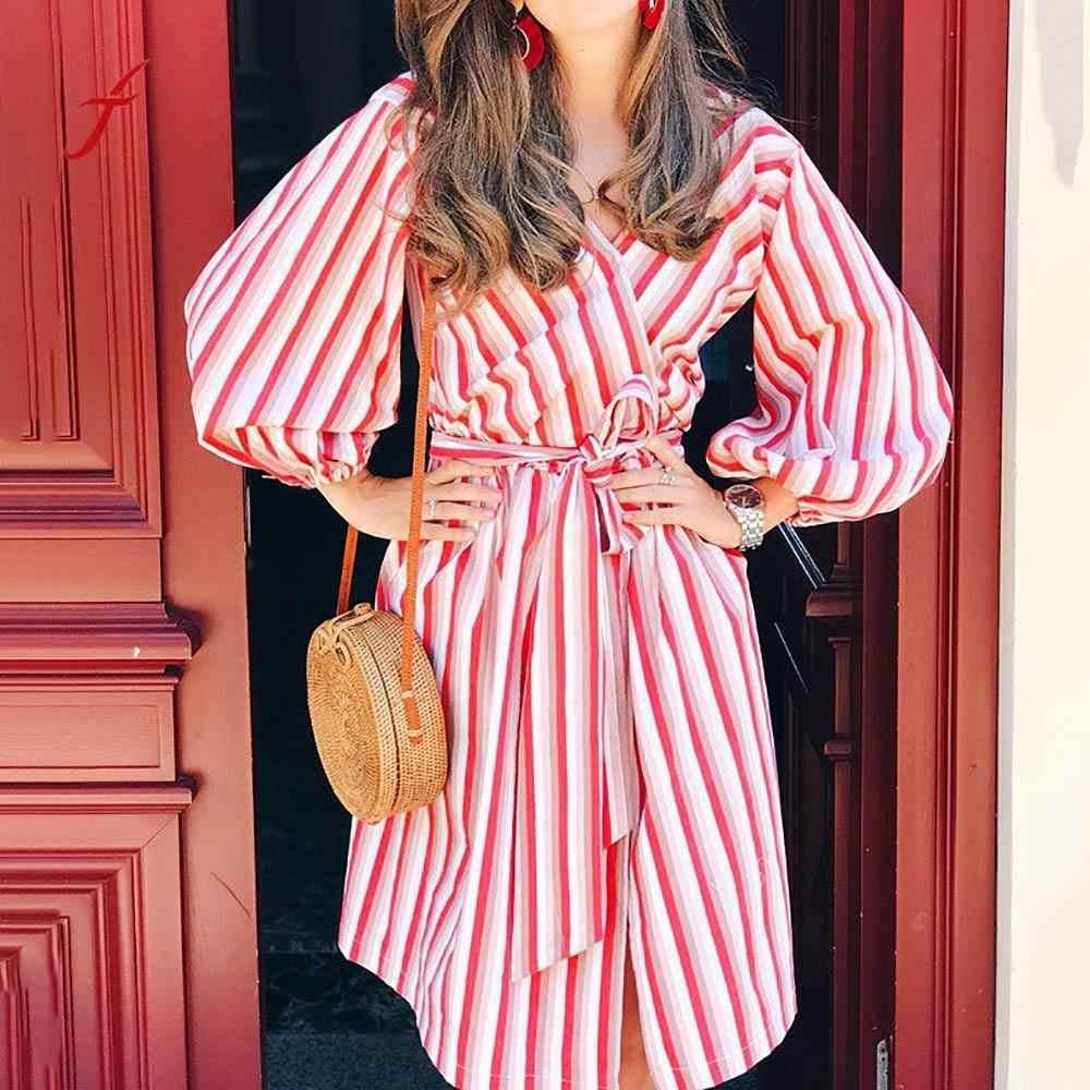 8cc98961e27703f Женские пляжные платья для вечеринок женские осенние с длинным рукавом в  полоску до колена платье розовое