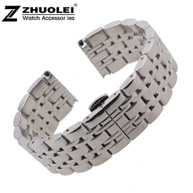 22mm New Heavy Polished Stainless Steel Watchband Strap Bracelets Free Shipping