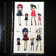 Colorful Cartoon Girls Tattoo Stickers For Lady Children Body Art Fake Tatoo Decals Waterproof Temporary Tattoo Stickers GAQ-045