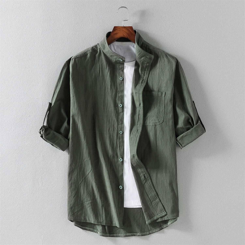 Летние мужские рубашки с коротким рукавом, свободные тонкие рубашки из 100% хлопка, мужские Модные однотонные рубашки с подставкой 4XL 5XL