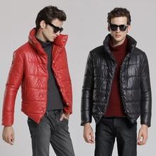 Мужская одежда мужской зимняя верхняя одежда случайные хлопка-ватник стоять воротник тепловой хлопка-ватник моды фронт fly