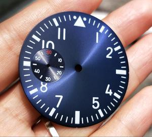 Image 3 - 38.9mm GEERVO fashion sterile luminous Number blue Five dial fit 6497 movement Mens watch dial 015A