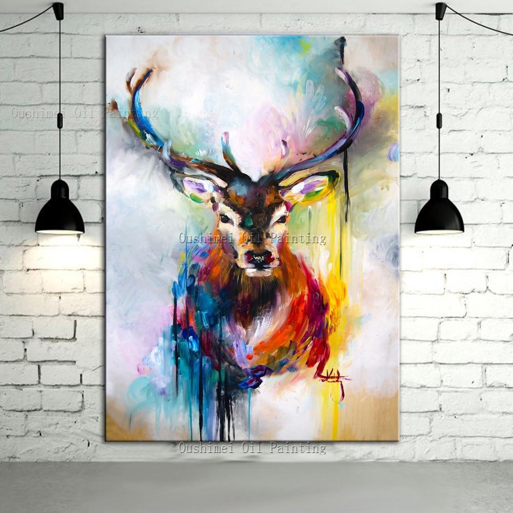 Ručně malované barvy Deer Zvířata Olejomalba Hang Paintings 100% Ručně vyráběné Moderní dojem Jelen Obrázek Home Dekor Malování