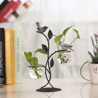 North European Country Style Office Home Decoration Metal Birds Glass Test Tube Wash Plant Planting Flower