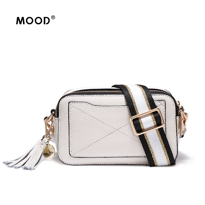 MOOD women bag 2018 Genuine Leather Cow leather mini tassel bag creative broadband inclined shoulder bag Free shipping