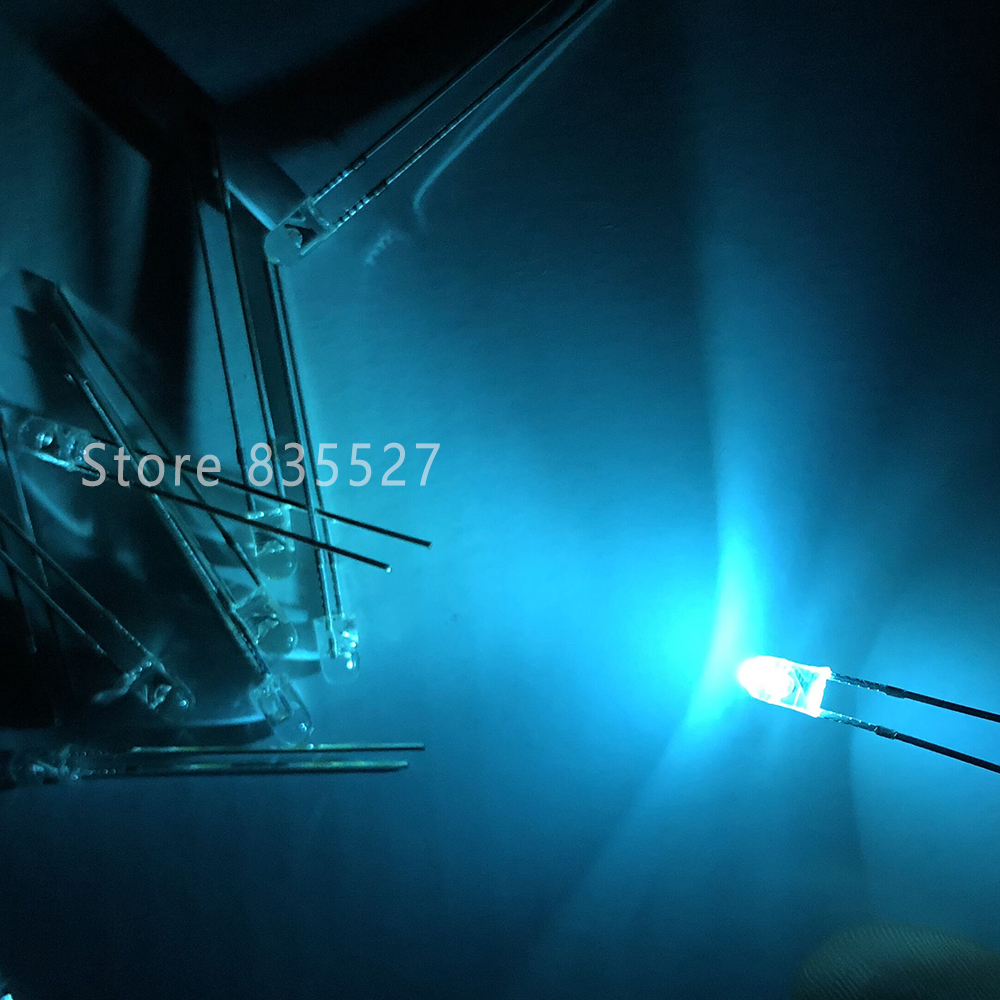 50PCS F3 3MM Round Light Ice Blue Sky Blue Endless LED Light-emitting Diodes Water Clear DIP Mechanical Keyboard Refitting Lamp