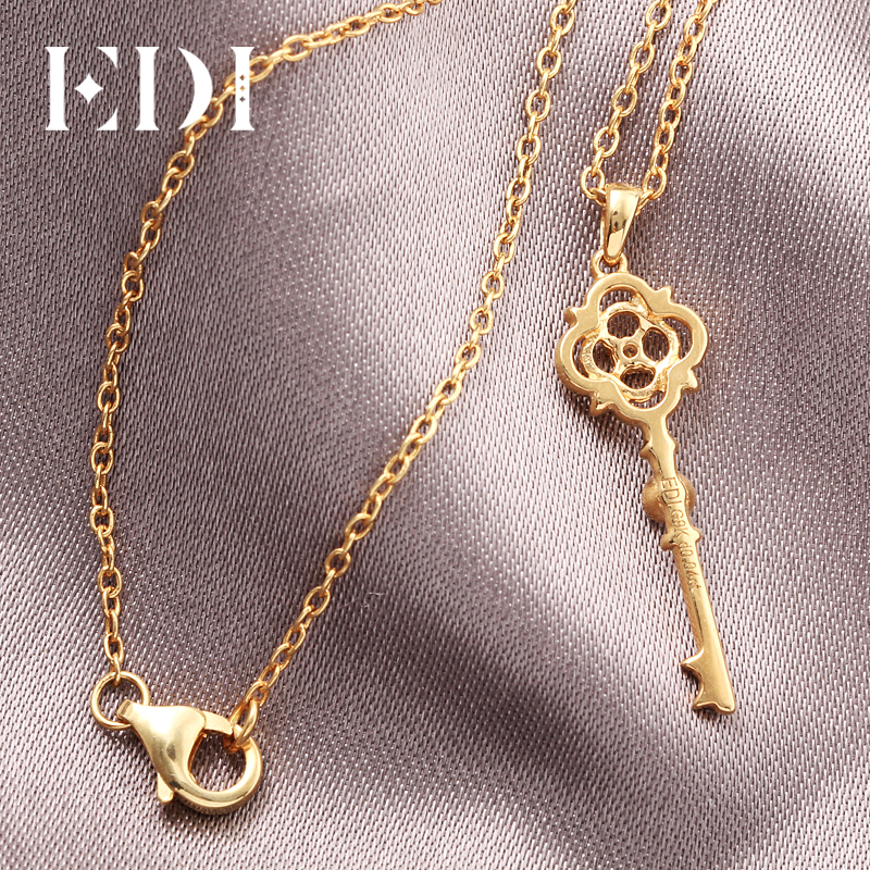 EDI Classic Clover Gold Diamond Key Pendant 9K Solid Rose Gold Real Natural Diamond Pendant Necklace Match 16' Silver Necklace