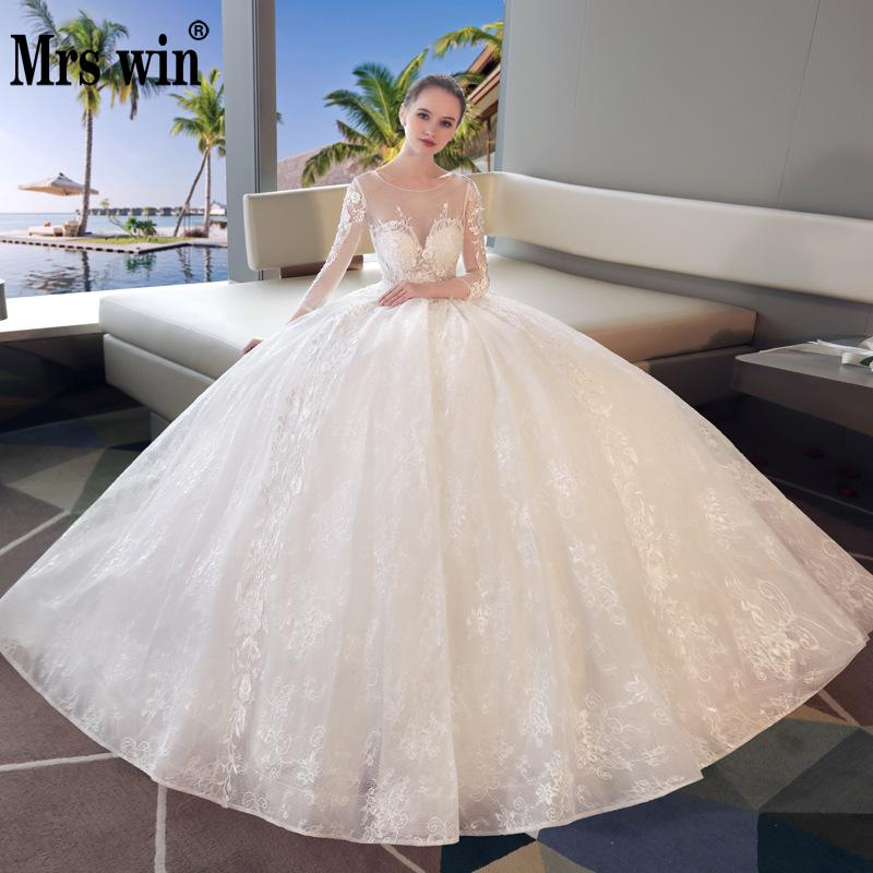 Vestido De Novias 2018 The Bridal Off White Lace Ball Gown Long Sleeve Luxury Lace Embroidery Sexy Illusion Wedding Dresses