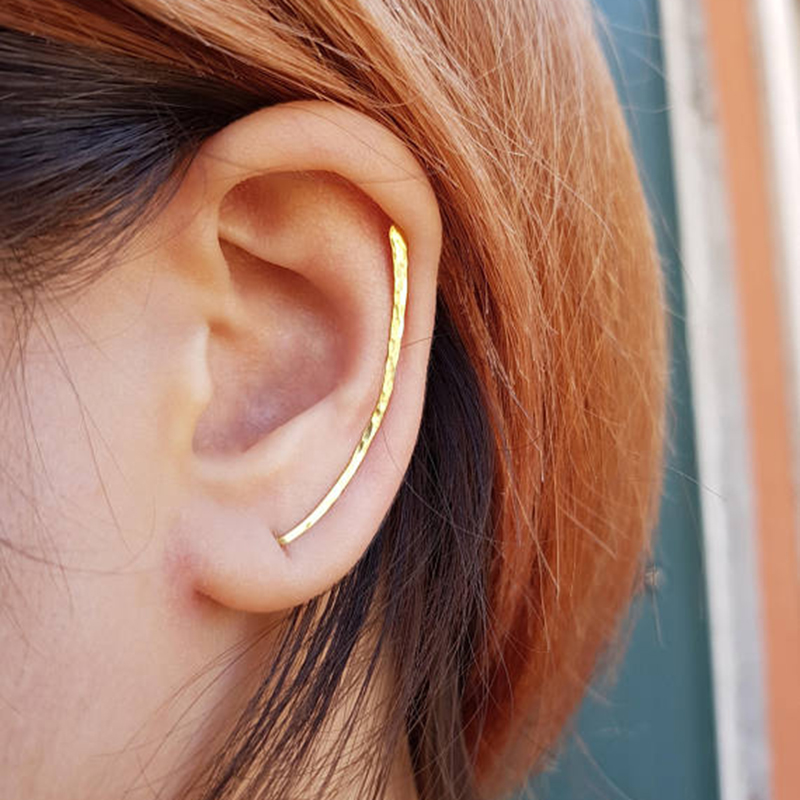 Gehämmert Ohr Kletterer Ohrringe Individuelle Handarbeit Crawler Bar Pins Sweep Lange Ohrringe Minimalistischen Geschenk Brincos Ohrringe für Frauen