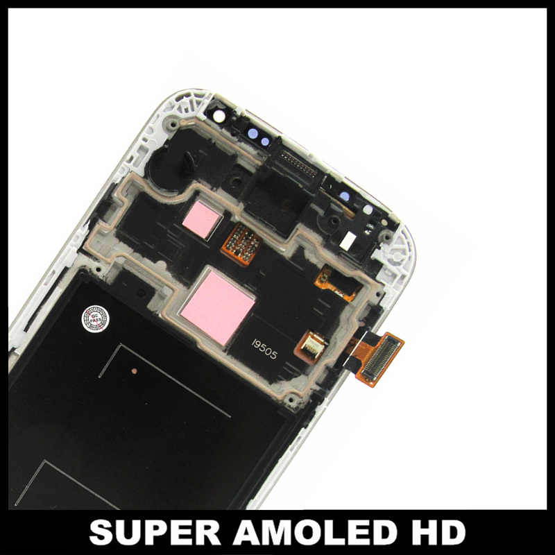 100% اختبار AMOLED شاشات LCD لسامسونج غالاكسي S4 i9505 شاشة إل سي دي باللمس شاشة الإطار محول الأرقام الجمعية استبدال الزجاج المقسى