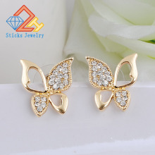 The newly designed elegant gilt plated white K diamond earrings butterfly bow Dance / Party Supplies