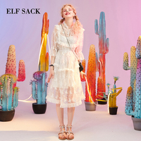 ELF SACK Summer New Bow Woman Dress Solid Lace Women Dresses Stylish Ruffles A Line Ladies Dresses Sweet Girl's Clothing