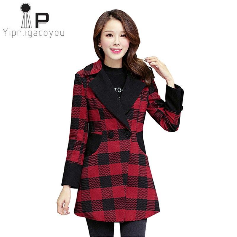 Automne femmes manteau Plaid Long pardessus coréen grande taille chaud manteau en laine femmes Double boutonnage manteaux mode Slim dames veste