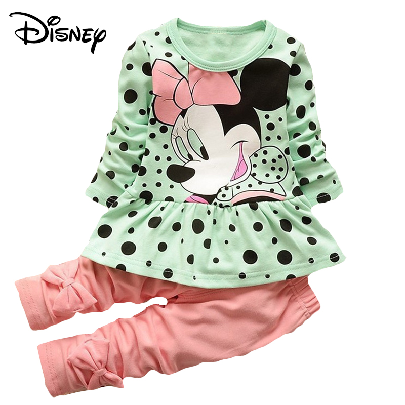 23a3616579777 Disney Minnie Mickey Baby Girls Boys Clothes Fashion Denim Bloues Long  Sleeve T-shirts Top Pants Outfits Kids Bebes Jogging Suit