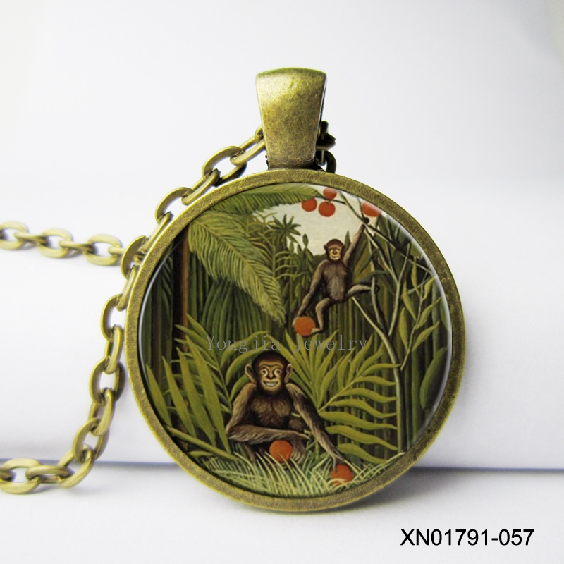 Two Monkeys In The Jungle Necklace By Henri Rousseau