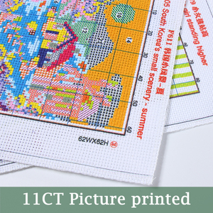 Image 2 - המריטה ענבים מודפסת בד ילדה נספר ערכות תפר צלב הסיני מודפס צלבי DMC סט רקמה רקמה