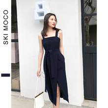 2019 Summer Women New Arrivals Dress Elegant Vantage Sleeveless Slit Mid-Calf Belted Notched PocketsOffice Dresses цена 2017