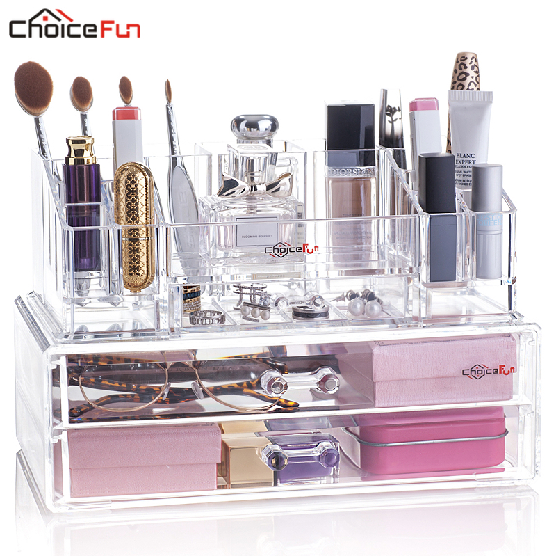 Make-Up Cosmetic Beauty Stackable Desktop Acrylic Plastic 2-Drawers Clear FUN CHOICE