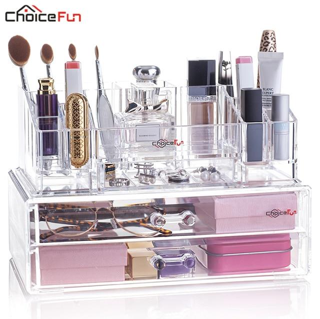 Choice Fun Beauty Desktop 2 Drawers Large Plastic Acryl Make Up Organizador Stackable Clear Acrylic Cosmetic Makeup Organiser
