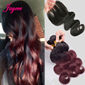 Burgundy ombre brazilian virgin hair with closure brazilian body wave 3 bundles with closure cheap ombre bodywave with closure