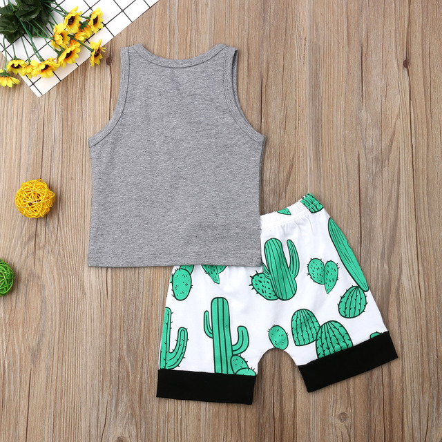 2PCS Newborn Kids Baby Boy Clothes Summer Cactus Sleeveless Tops T-Shirt Shorts Outfit Sunsuit