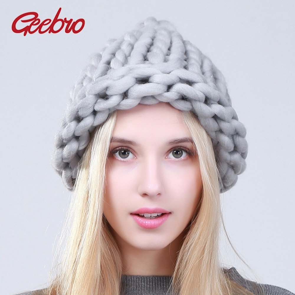 Geebro Women Winter Warm Beanies Hat Handmade Thick Knitted Coarse Lines Cable Hat Candy Color Crochet Caps Female Beanie Hats