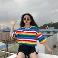 Nueva camiseta mujer Arco Iris rayas Tops Harajuku camiseta 2018 verano manga corta camiseta Punk coreana camiseta femenina T8