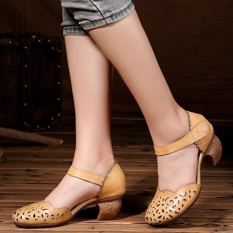 Tyawkiho Genuine Leather Women Sandals 2018 Summer Women 5 CM High Heels Ankle Strap Brand Leather Sandals Handmade Shoes Sale