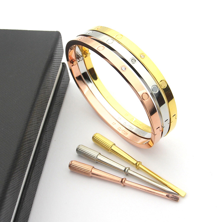 2018 newest 316L Titanium steel 4mm narrow brand carter love bracelet for women screwdriver cuff bracelet more fashion