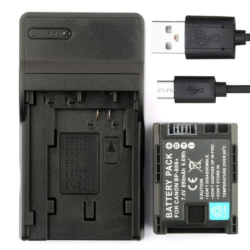LANFULANG BP 808 Battery and Charger Kit for Canon BP-807 BP-808 BP-809 FS305 FS306 FS307 FS36 FS37 FS406 FS46 XA10 HF100 HFS10