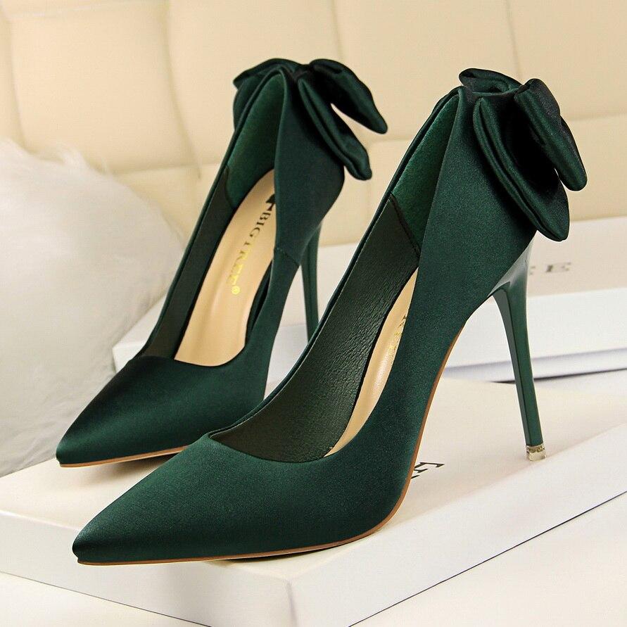 ... 2018 Women Luxury 10cm High Heels Bridal Butterfly knot Satin Pumps  Ladies Blue Pink Green Heels Female Scarpins Shoes on Aliexpress.com  622c3698bed9