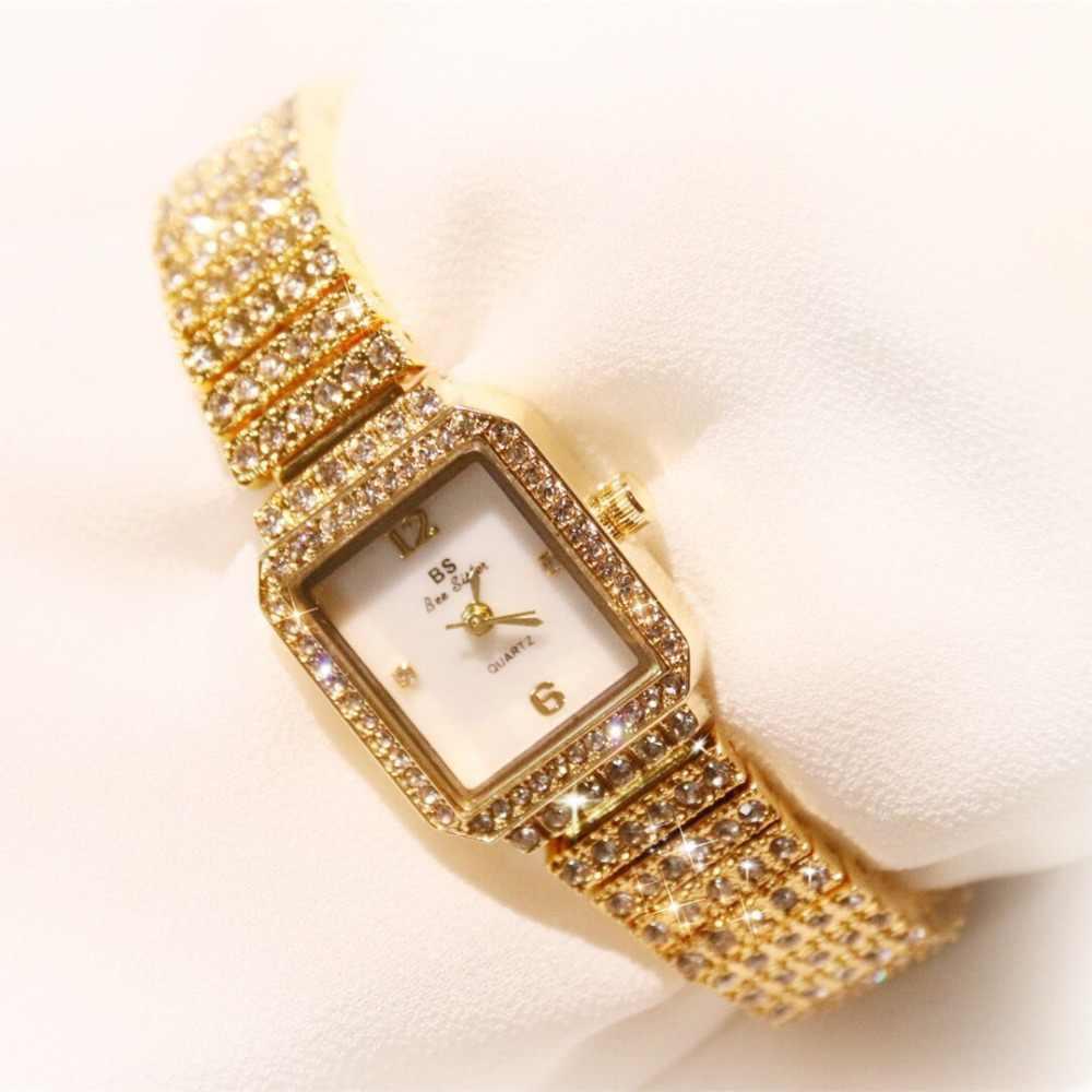 2018 מותג נשים צמיד שעונים אופנה יוקרה ליידי ריינסטון שעוני יד גבירותיי יהלומי שמלת קוורץ שעון Montre Femme
